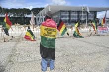 Um grupo de quilombolas do Maranhão, Rio Grande do Sul, Minas Gerais e Rio de Janeiro realizam uma manifestação em frente ao STF (Antônio Cruz/Agência Brasil)